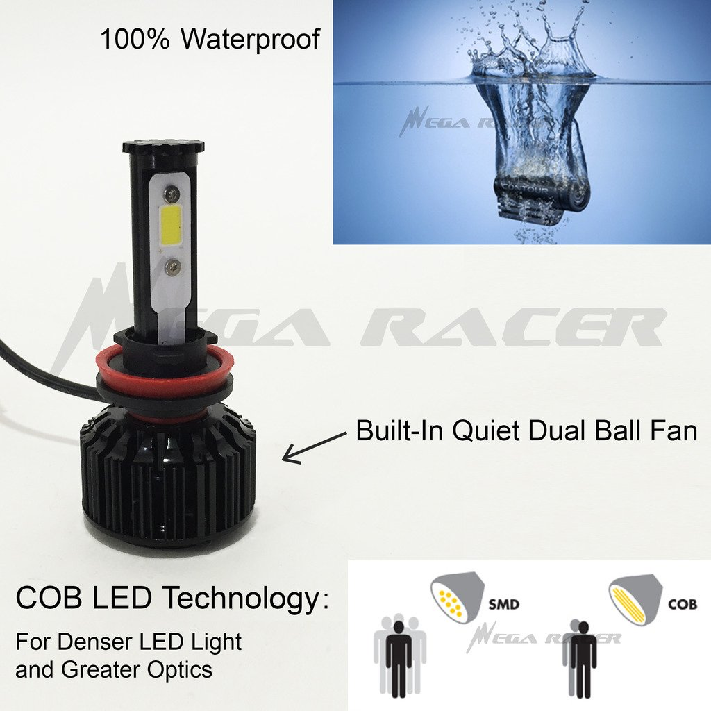 Amazon.com: Mega Racer H11 CREE COB LED 6K White 10K Blue Kit Kit Headlight Low Beam Replace Xenon Lo Lamp Light Bulb US: Automotive