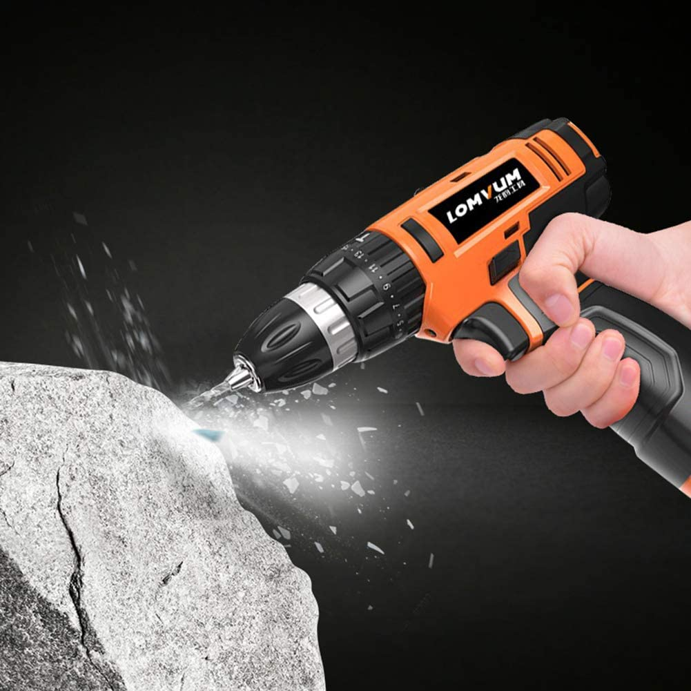 POOPFIY Cordless Drill 12/16/24V Electric Screwdriver Electric Drill lithium cordless drill Cordless Screwdriver Mini Drill Power Tools 16V 1B