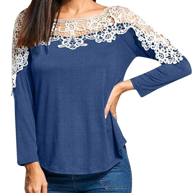 Blusas Mujer 2018 Elegantes,O-Cuello Largo Mangas Moda Diario Suelto De Encaje Camiseta