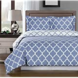 Periwinkle and White Meridian Full / Queen 3-piece Duvet-Cover-Set, 100 % Egyptian Cotton 300 TC