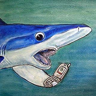 maco shark talking on a cell phomne artwork tile coaster gift