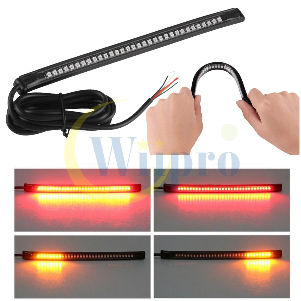 Wiipro Universal Led Harley Davidson Light Strip Tail 2001 Dyna Colored Lighting Wiring Diagram Brake Stop Turn Signal 32led 8 Flexible For Motorcycle Automotive