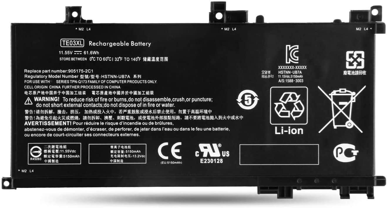 11.55V 61.6Wh TE03XL Laptop Battery Replacement for HP Pavilion 15 Omen 15-BC000 15-BC015TX 15-AX033DX 15-AX000 Series Notebook 849910-850 HSTNN-UB7A 849570-541 849570-542 849570-543 TPN-Q173