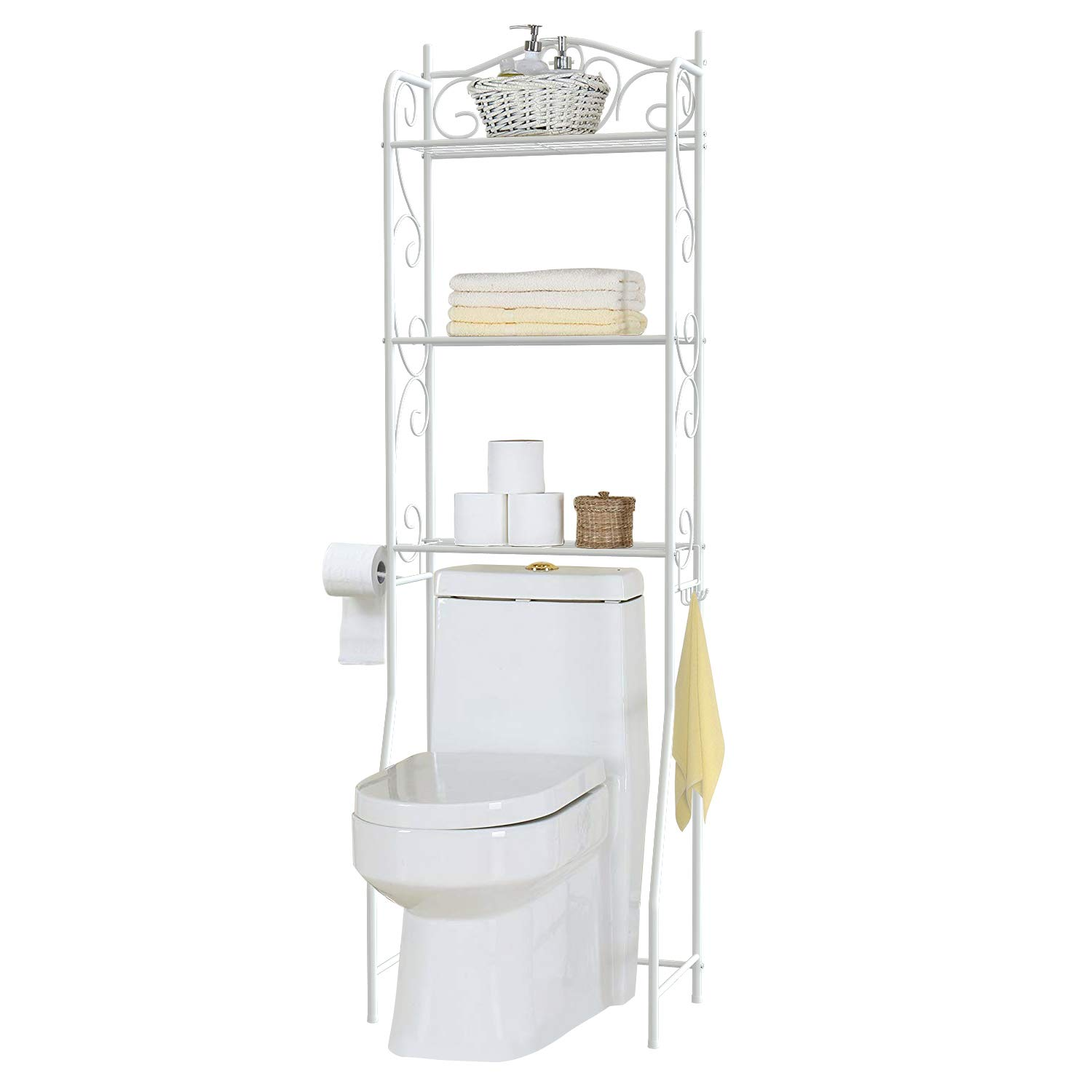 HOME BI Over The Toilet Storage Bathroom Spacesaver,3 Shelves Etagere Freestanding Bathroom Shelf Storage Organizer Toilet Rack with Toilet Paper Rack,White by HOME BI