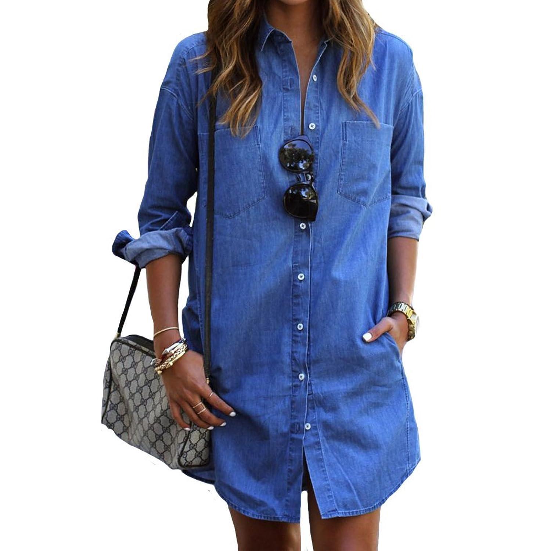 bestwahl damen jeanskleid jeanshemd hemdkleid blusenkleid. Black Bedroom Furniture Sets. Home Design Ideas