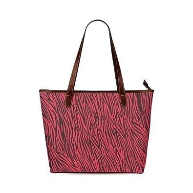 c06475b29086 Amazon.com  InterestPrint Women Shoulder Bag Red Zebra Stripes Animal Print  Fur Shoulder Tote Bag  Shoes