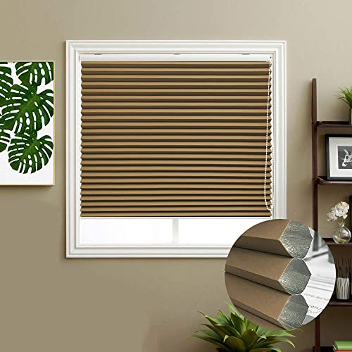 Keego Blackout Cellular Shades, Custom Size Window Blinds, Coffee, 46 W x 48 H, Corded Room Darkening Honeycomb Blinds, Backside in White
