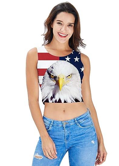 9bb6a1e934a560 Women s Crop Top Summer 3D Print American Flag Eagle Graphic Sleevelees  Shirts