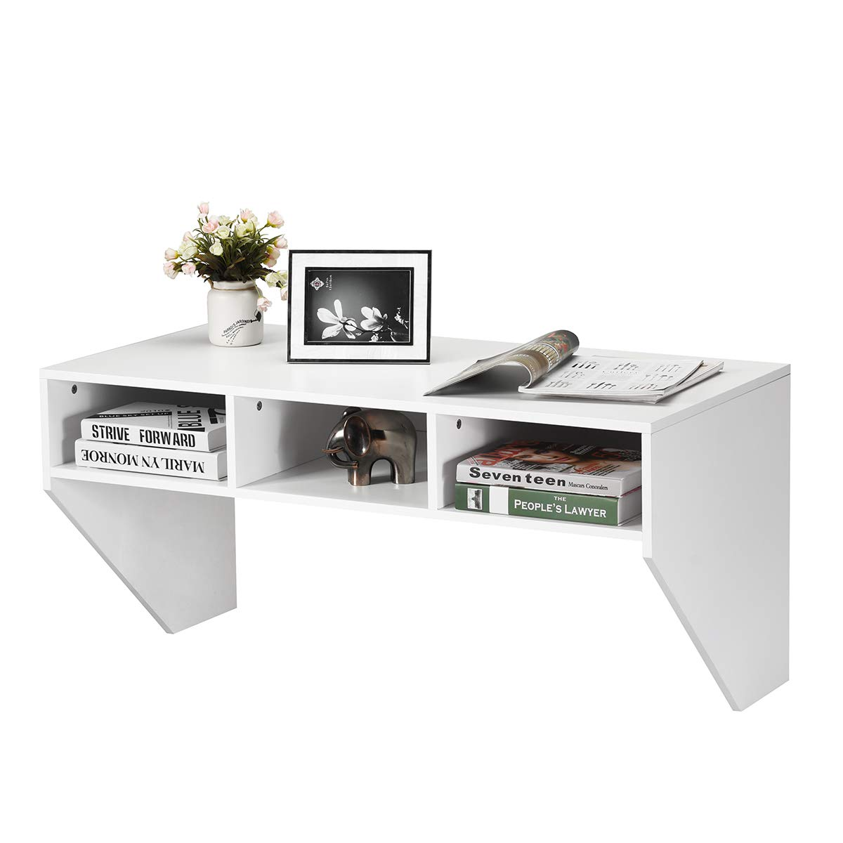Giantex Wall Mounted Desk Floating Computer Desk W/ 3 Storage Shelves and Large Weight Capacity for Home, Office, Bedroom, TV Media Console Floating (White) by Giantex