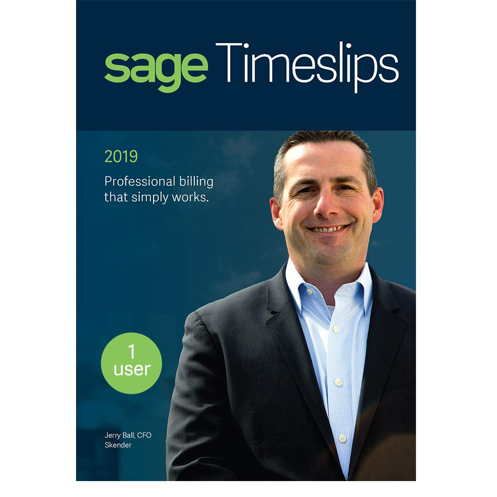 Sage Timeslips 2019, Time Tracking and Billing Software, Easy Data Entry, Over 100 Predefined Reports, Track Billable Hours, Streamline Billing Cycle, Guided Setup Wizard, Drag & Drop Design, 1-User by Sage Software