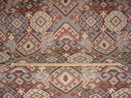 43H11 - Dusty Blue / Espresso Southwest / Anatolian Ikat Kilim Blanket Chenille To the Trade Designer Upholstery Drapery Fabric - By the ()