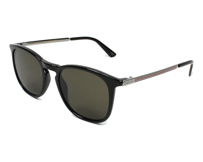 1182124fc3 Amazon.com  Gucci GG 0136S 001 Black Plastic Square Sunglasses Brown Lens   Clothing