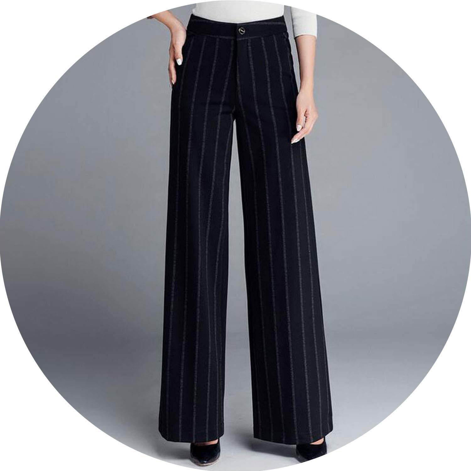 color can't be satisfied Women Winter Thick Pants Warm Trousers Casual Stretch Black Striped Wide Leg Pants Woman Loose Pant 37