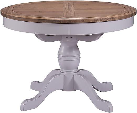 Devon Roble Pedestal Mesa de Comedor Redonda Extensible Roble y ...