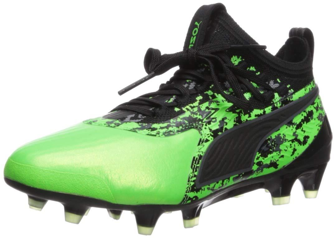 PUMA Boys ONE 19.1 FG/AG JR Sneaker, Green Gecko Black-Charcoal Gray, 5.5 M US Big Kid