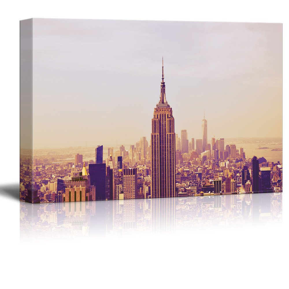 wall26 Canvas Wall Art - Cityscape of New York City Skyline - Giclee Print Gallery Wrap Modern Home Decor Ready to Hang - 24'' x 36'