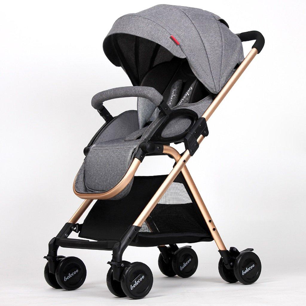 赤ちゃんのベビーカーは、背の高いパラソルに座っているトップビュー折りたたみベビーカー(カーキ)(ブルー)(グレー)(ピンク)50 * 85 * 101cm ( Color : Gray ) B07CDCL2T8