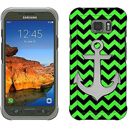 Samsung Galaxy S7 Active Case, Snap On Cover by Trek Anchor on Chevron Zig Zag Green Black Slim Case Sales