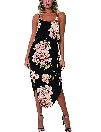 c5860b4e70 Exlura Womens Boho Summer Dresses Floral Spaghetti Strap Backless Split  Dress Casual Beach Dress Sundress at Amazon Women s Clothing store