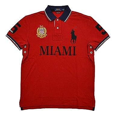 Polo Ralph Lauren Mens Custom Slim Fit Mesh City Polo Shirt (Small, Red  Miami