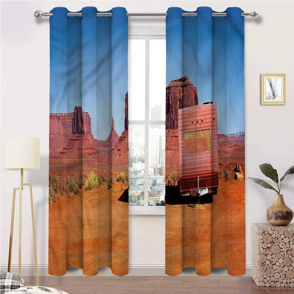 Nursery Curtains, Primitive Country Room Darkening Thermal Insulated Grommet Drapes, Van in Desert Set of 2 Panels, 84 Width x 72 Length