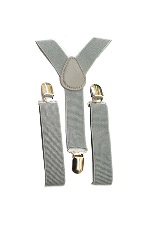 TOOGOO Bambini delle ragazze dei ragazzi di Y-back bretella elastica regolabile Clip-On Bretelle Grigio chiaro 057526A3