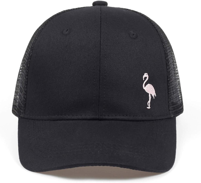 Flamingo Mesh Hat Sun Embroidery Baseball Cap Women Men Solid Color Dad Hats Snapback Unisex Holiday Cap