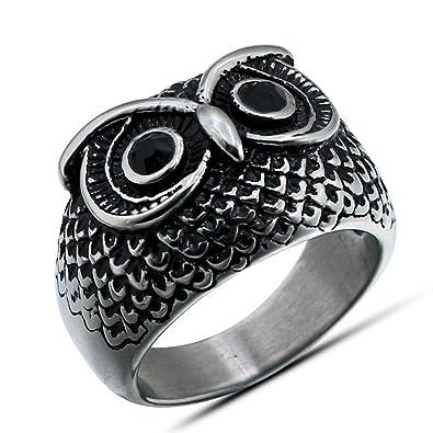 Amazon.com: lilileo joyas anillos de titanio acero Retro Owl ...