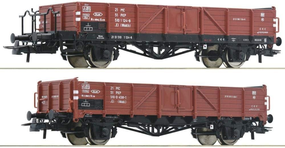 PKP Bahnverwaltung: Polnische St Set Roco HO 76281-2-tlg Offene Güterwagen
