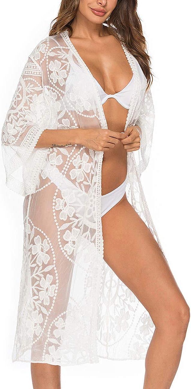 iWoo - Cárdigan kimono sexi para mujer, largo, para proteger del sol en la playa, de encaje floral estilo crochet para cubrirse en la playa.