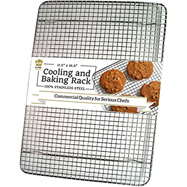 Ultra Cuisine 100% Stainless Steel Wire Cooling Rack for Baking fits Half Sheet Pans – Cool Cookies, Cakes, Breads - Oven Safe for Cooking, Roasting, Grilling - Heavy Duty Commercial Quality