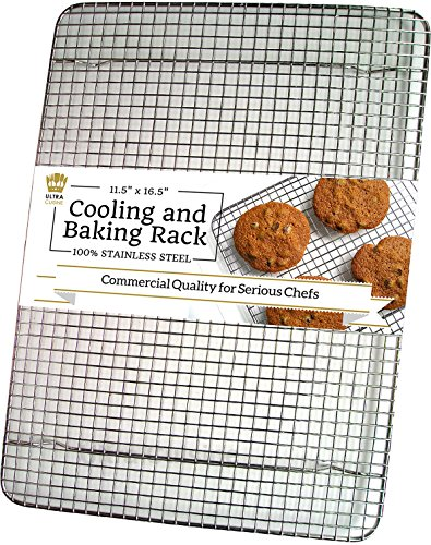 (Ultra Cuisine 100% Stainless Steel Wire Cooling Rack for Baking fits Half Sheet Pans Cool Cookies, Cakes, Breads - Oven Safe for Cooking, Roasting, Grilling - Heavy Duty Commercial Quality)