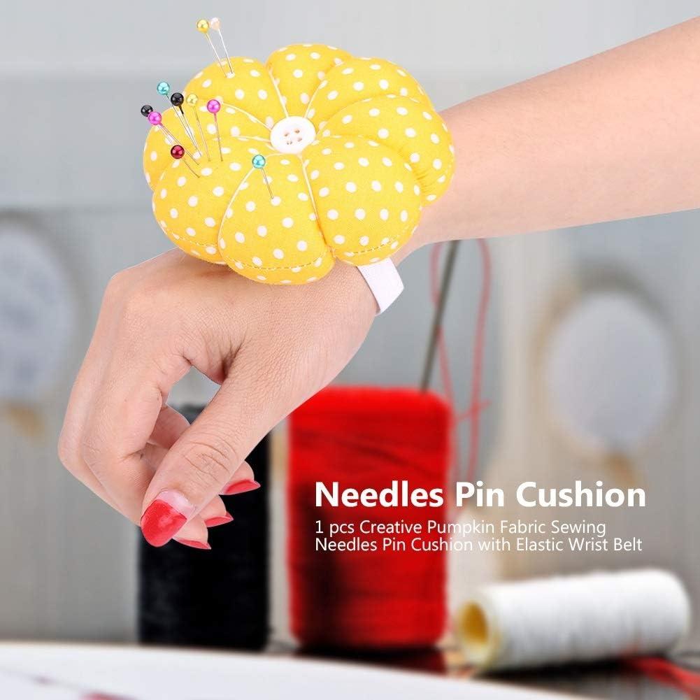 Nikou Pin Cushion Creative Pumpkin Fabric Sewing Needles Pin Cushion with Elastic Wrist Belt Size : 1