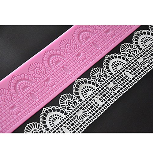 FOUR-C Decorating Supplies Silicone Lace Mat Sugar Mold for Cake Decorating Color Pink