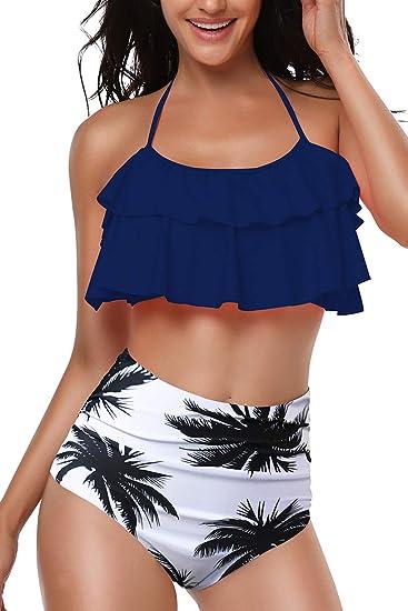 Bequemer Laden Damen Bikini Set High Waist Bademode Zweiteilige Strandkleidung Badeanzug mit Volant Neckholder Bikini Obertei
