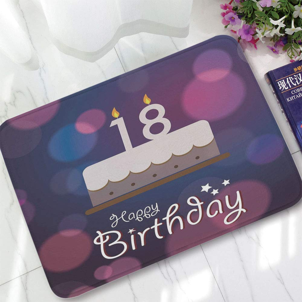 YOLIYANA Short Fur Floor Mat,18th Birthday Decoration,for Home Meeting Room,15.75''x23.62'',Cartoon Birthday Party Cake with Candles