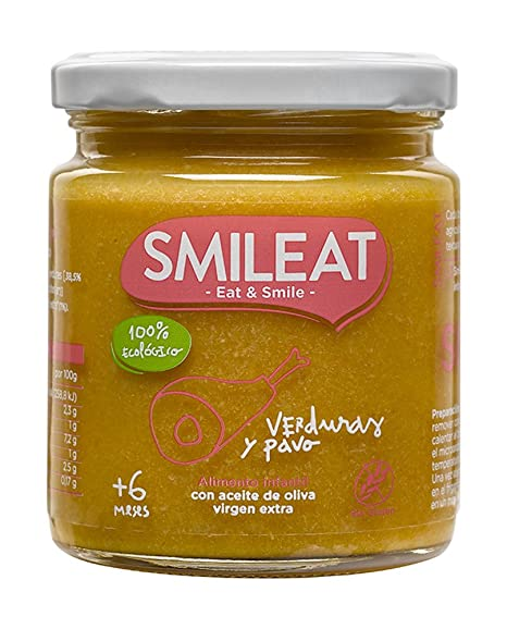 Smileat, Tarrito de carne para bebé, pavo con verduras - 230 gr.
