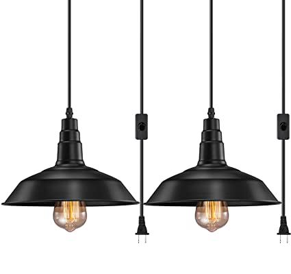 eae9ac774f2 FadimiKoo Plug in Pendant Light E26 E27 Industrial Hanging Pendant Lights  Vintage Hanging Light Fixture with 13.12ft Cord On Off Switch 2 Pack - -  Amazon. ...