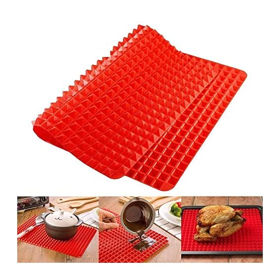 "Wolecok Wolecok Silicone Baking Mat, Cooking Pan Oven Tray Baking Sheet Pastry Cooking Mat 2 Pack 1 Material:100% Food Grade pure Silicone (no plastic fillers), BPA free, non-toxic . Temperature tolerance:-40℃ to 230℃(-40℉ to446℉) Dimensions: 16"" x 11.5"" , and It can be cut to a Specific Size"