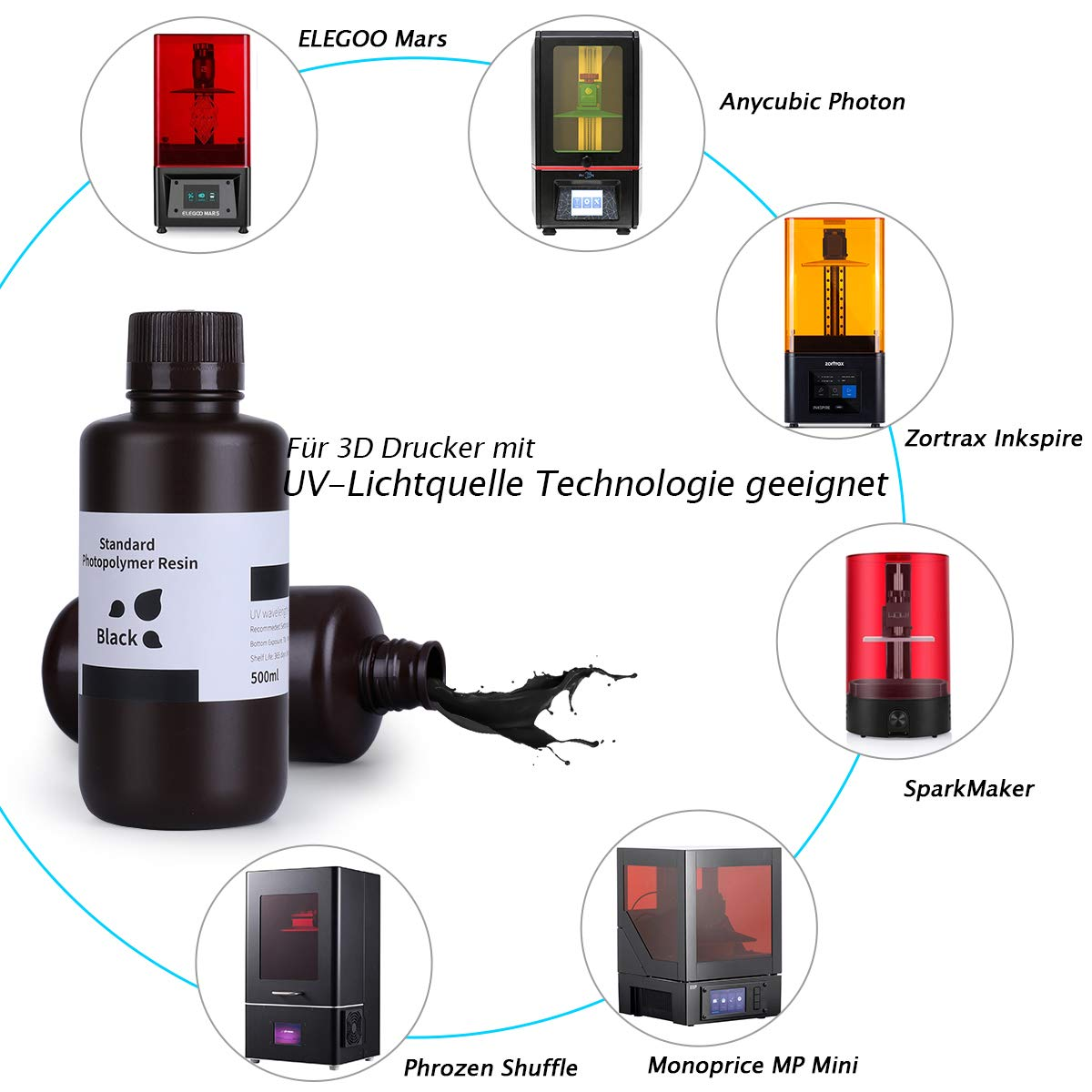 ELEGOO LCD UV 405nm Rapid Resin para impresora LCD 3D 500g ...