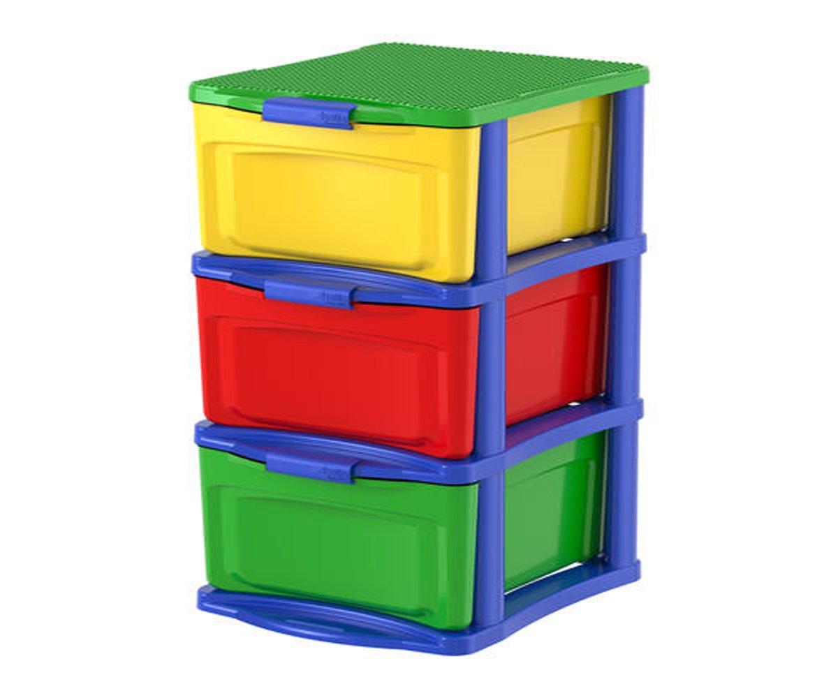 Bella Storage Solution Build & Store 3 Drawer Tower - Plastic, Multicolor - 12-3/4''W x 24-3/4''H x 15-1/4''D