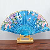 Light Blue Spanish Style Dance Wedding Party Lace Silk Folding Hand Held Flower Fan