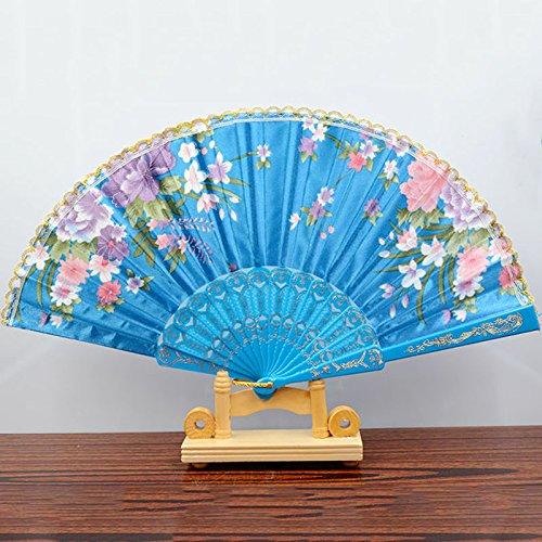 Light Blue Spanish Style Dance Wedding Party Lace Silk Folding Hand Held Flower Fan