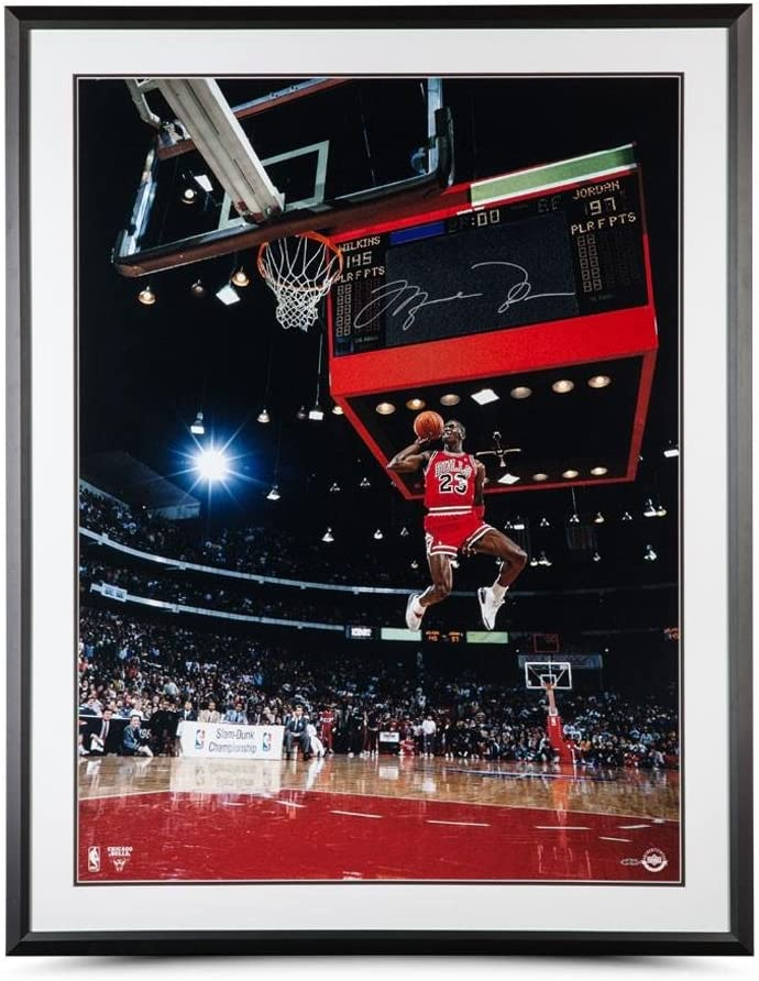 Michael Jordan Autographed 1988 Scoreboard Dunk Framed Photo 30 x 40 - Upper Deck - Autographed NBA Photos