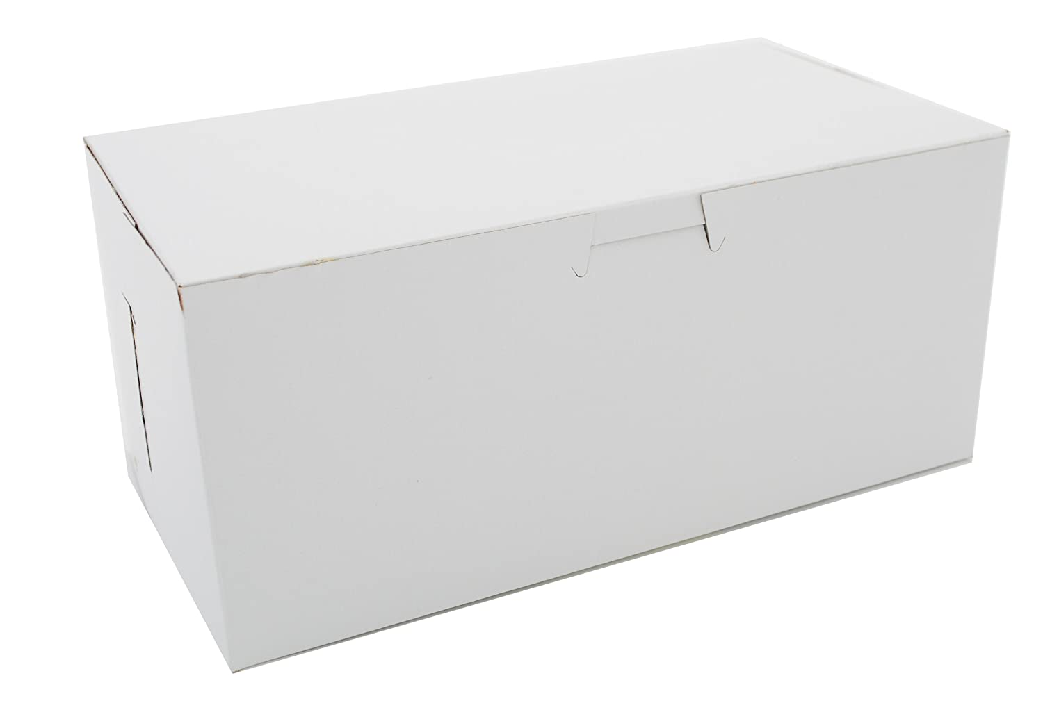 """Southern Champion Tray 0949 Premium Clay Coated Kraft Paperboard White Non-Window Lock Corner Bakery Box, 9"""" Length x 5"""" Width x 4"""" Height (Case of 250)"""