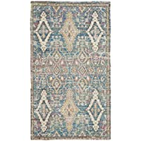 Safavieh Safran Collection SFN564A Hand-loomed Turquoise and Peach Distressed Bohemian Cotton Area Rug (3 x 5)