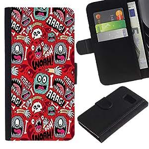Billetera de Cuero Caso Titular de la tarjeta Carcasa Funda para Samsung Galaxy S6 SM-G920 / Wallpaper Mono Eye Colorful Aliens Skull Hand / STRONG