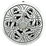 Sterling Silver Floral Mandala Brooch Pin Pendant w/ Moon Stone Crystal, 1 5/8 inch