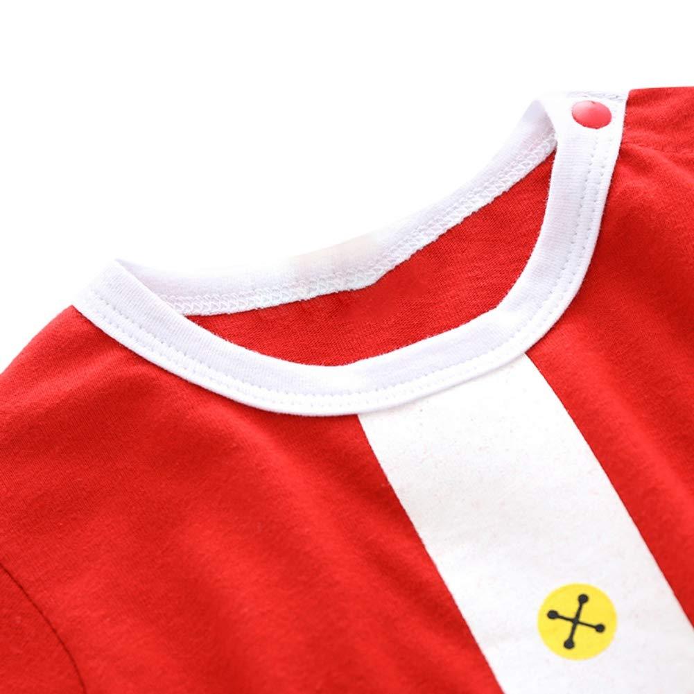 EFINNY Children Clothing Christmas Pattern Suit Printing Stripes Cotton Soft Jumpsuit+Hat