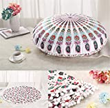 zhengjun Mandala Floor Pillowcase Round Bohemian Meditation Cushion Cover Ottoman Pouf Cover (9#)
